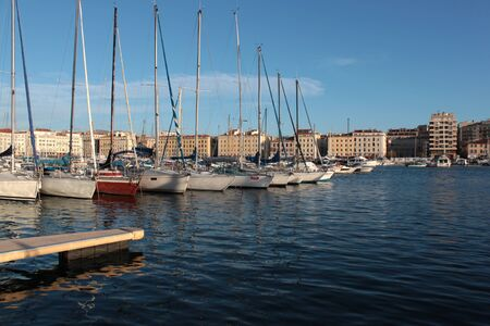 ing: Yachts in Vieux Port of Marseille Stock Photo