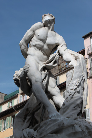 god s hand: statues in the city center French art in Marseille Editorial