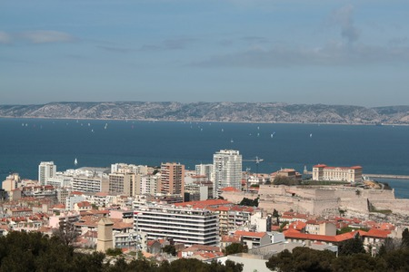 castle if: view with the landscape of the city of Marseille and harbor view