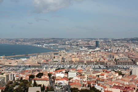 view with the landscape of the city of Marseille and harbor view photo