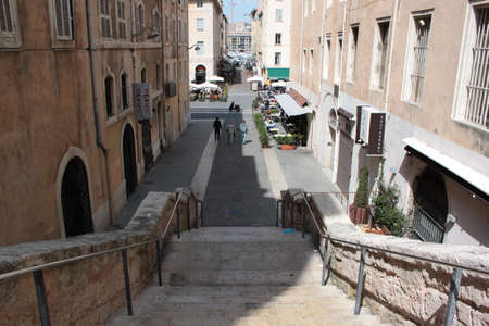 climbing cable: staircase in the city center in Marseille France