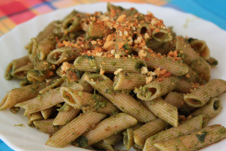hard sell: Organic pasta dish seasoned with sauces and vegetables