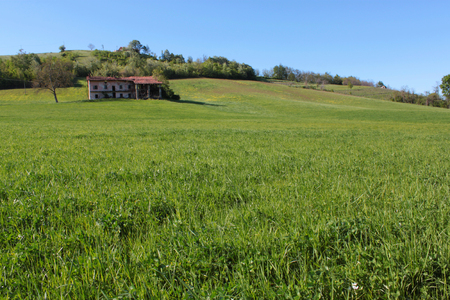 ancient Piedmontese farmhouse in the countryside Stock Photo