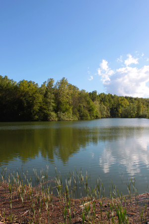 natural lake with a view of green countryside