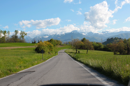 natural landscape road with green countryside view