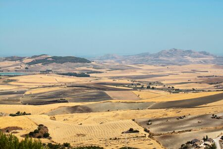 agricultural landscape view in the center of Sicily