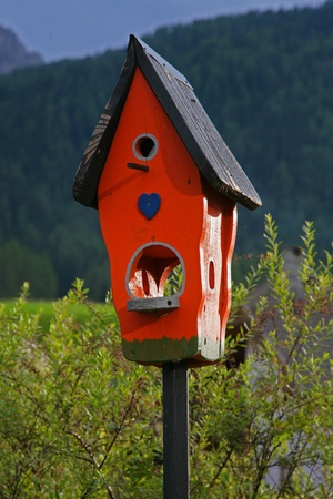 Red Wooden birdhouse isolated  photo