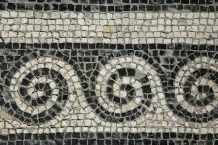 mosaic floor: Roman mosaic - Roman House - Spoleto, Italy Stock Photo