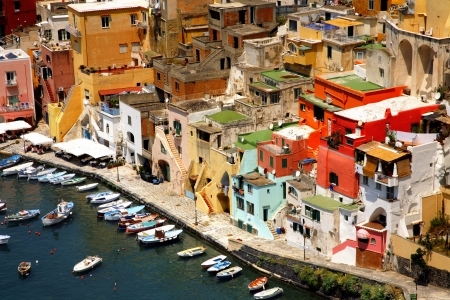 Corricella closeup - Procida, beautiful island in the mediterranean sea, Naples - Italy photo