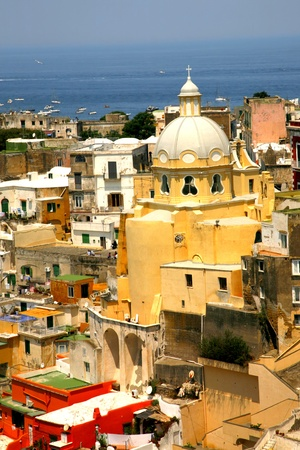 Corricella closeup church - Procida, beautiful island in the mediterranean sea, Naples - Italy photo