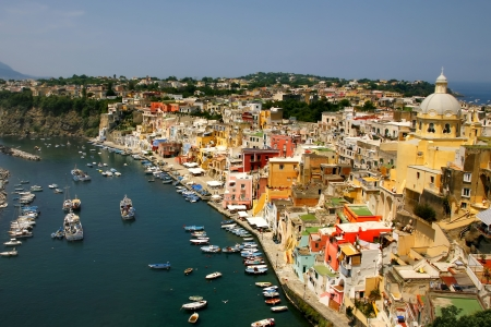 Italy - Procida, beautiful island in the mediterranean sea, naples - colorful houses photo