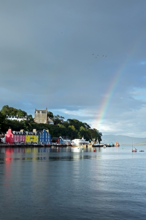 mull: UK Western Scotland Isle of Mull Colorful town of Tobermory - capital of Mull, landscape with rainbow