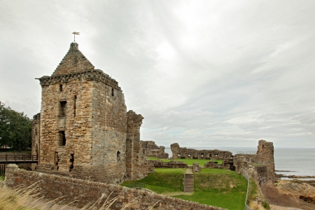 fife: St Andrews Castle Ruins Medieval Landmark  Fife, Scotland