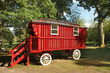 southwest: red wooden stagecoach