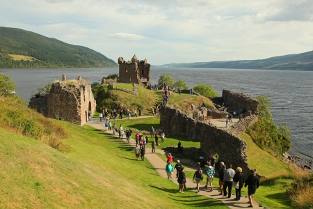 ness: Urquhart Castle beside Loch Ness in Scotland, UK  Editorial