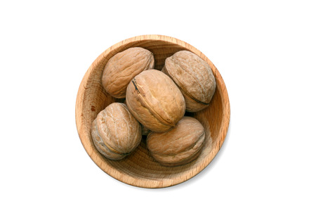 crux: Walnuts on the withe background