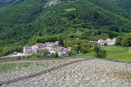 MONTEMONACO ALTINO, ITALY - JUNE 01, 2014  Montemonaco Altino is located within the National Park of the Sibillini Mountains at an altitude of just over 1,000 meters