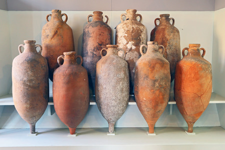 A group of Amphora recovered from the sea in Tuscany photo