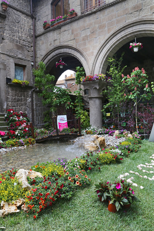 VITERBO, ITALY, MAY 4, 2014  Exhibition  San Pellegrino in Fiore in Viterbo   The event in San Pellegrino in Fiore sees the historic city of Viterbo with floral decorations in the streets and squares