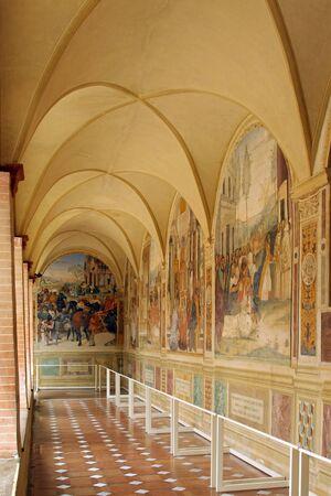 benedictine: MONTE OLIVETO MAGGIORE, ITALY, May 5, 2009: The Benedictine Monte Oliveto Abbey in Tuscany, Italy Editorial