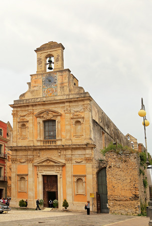 GAETA, ITALY - JUNE 25, 2016: Church of Santissima Annunziata, exterior fragment. Gaeta, Italy