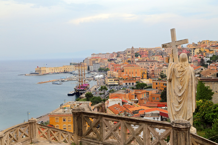 Jesus Christ holds passion cross marble statue in Gaeta, southern Italy Stock Photo