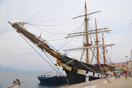 palinuro: GAETA, ITALY - JUNE 25, 2016: The three masted Palinuro, a historic Italian Navy training barquentine, moored in the port Gaeta. Editorial