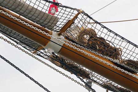 GAETA, ITALY - JUNE 25, 2016: The three masted Palinuro, a historic Italian Navy training barquentine, moored in the port Gaeta. Editorial