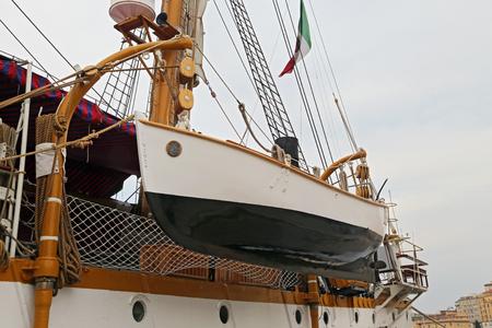 GAETA, ITALY à ¢ â,¬â € œ JUNE 25, 2016: The three masted Palinuro, a historic Italian Navy training barquentine, moored in the port Gaeta. Editorial