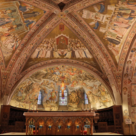 francis: ASSISI, ITALY 30 JUNE, 2017: Interior Famous Basilica of St. Francis of Assisi (Basilica Papale di San Francesco) with Lower Plaza at sunset in Assisi, Umbria, Italy