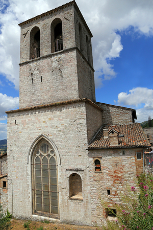 crenellated: Gubbio, medieval town in Umbria (Italy) Stock Photo
