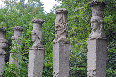 BOMARZO, ITALY - 2 JULY 2017 - Theater with Obelisks at Monster Park in Bomarzo - Italy