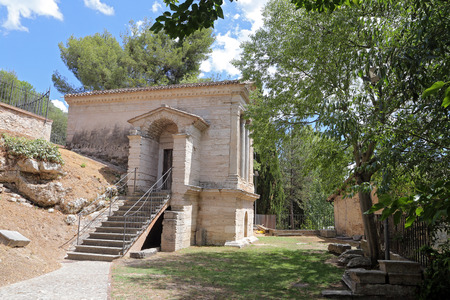 capita: CAMPELLO SUL CLITUNNO (UMBRIA), ITALY - 29 JUNE 2017 - A town between Spoleto and Trevi in ??the Umbria region, with the historical