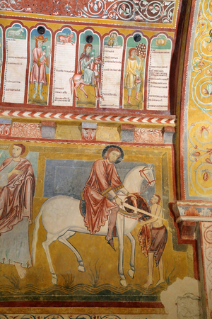 BOMINACO (Caporciano AQ), ITALY - AUGUST 24, 2017: Oratory of St. Pellegrino in the Abbey of Santa Maria.