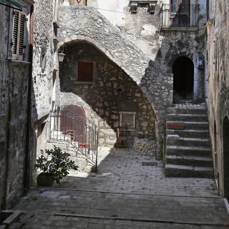 SANTO STEFANO DI SESSANIO (LAQUILA),ITALY - 25 AUGUST 2017 - Picturesque court in italian village. Editorial