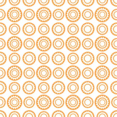 Geometric pattern in repeat.Seamless background, orange geometric pattern on white background. Illustration