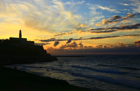 View of the Jaffa Port, Israel. Sunset. photo