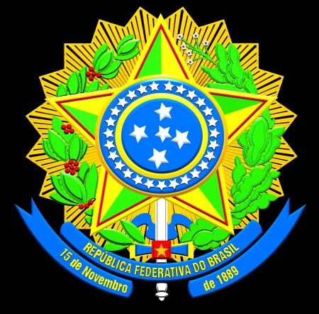federative republic of brazil: Brazil Coat of Arms  Close Up     Stock Photo