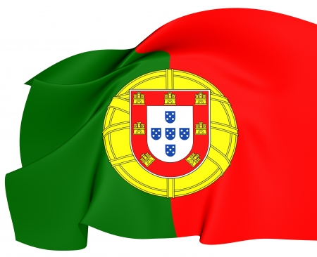 portugal: Flag of Portugal. Close Up.