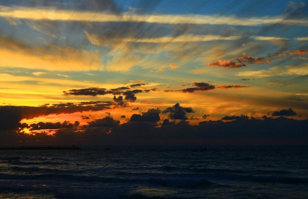 View of the Mediterranean Sea, Israel  Sunset  photo