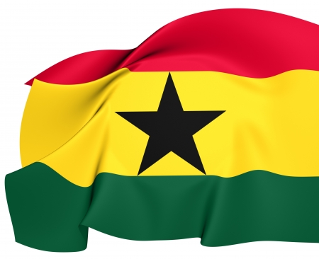 Flag of Ghana. Close Up.   Stok Fotoğraf