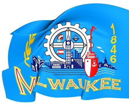 milwaukee: Flag of Milwaukee, USA  Close Up