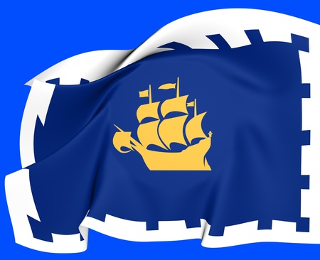 Flag of Quebec City, Canada  Close Up  photo