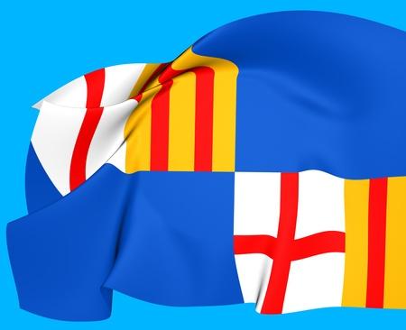 atoll: Flag of Barceloneta, Puerto Rico. Close Up.   Stock Photo