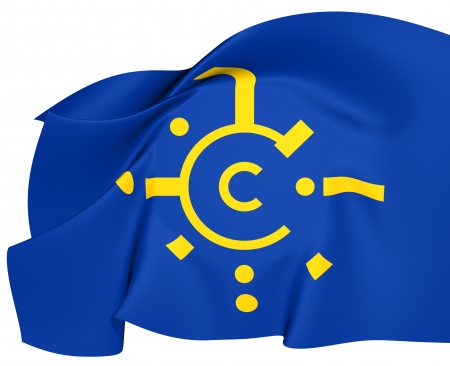 central european: Central European Free Trade Agreement Flag. Close Up.