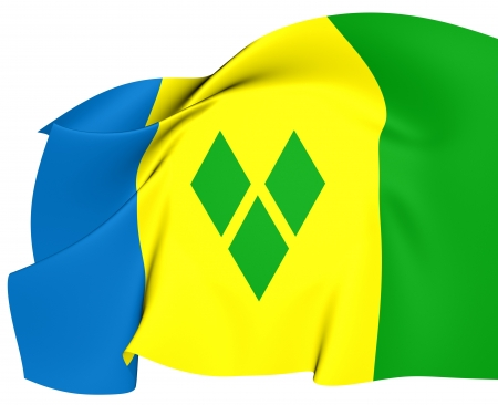 grenadines: Flag of Saint Vincent and the Grenadines  Close Up  Stock Photo
