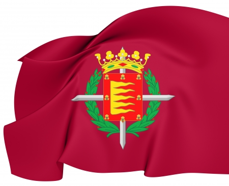 municipality: Flag of Valladolid City, Spain  Close Up