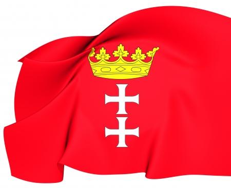gdansk: Flag of Gdansk, Poland  Close Up