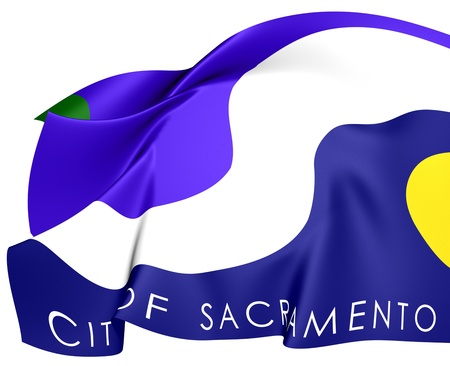 Flag of Sacramento, USA. Close Up.    Stock Photo