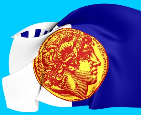 europe closeup: Flag of Thessaloniki, Greece. Close Up.